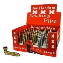 Amsterdam weed leaves engraved metal pipes (30pcs/display)