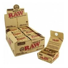 RAW Rolls & Tips 3 meters rolls + pre-rolled tips (12pcs/display)